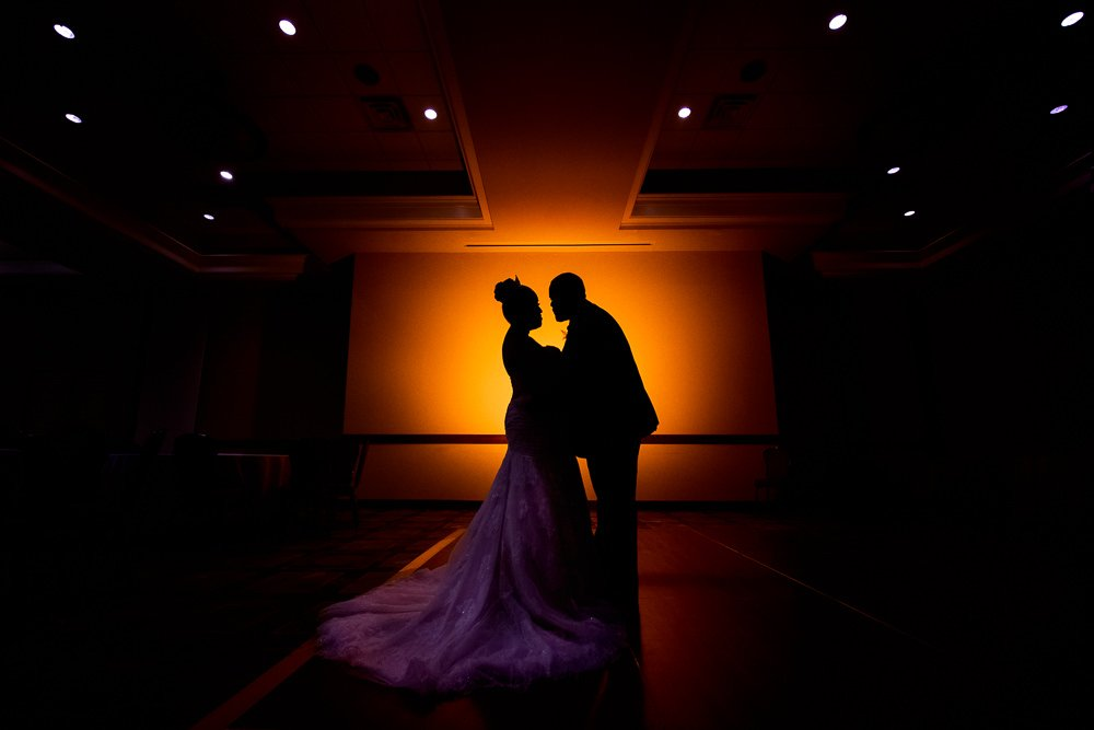 Silhouette of bride and groom, Blue and Pink Wedding, The Soundside Club, Elegant Ballroom Wedding, Lazzat Photography, Florida Wedding Photography